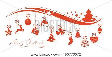 Set of 12 Christmas ornaments hanging from a wavy border topped with a Christmas tree and stars and handwritten Merry Christmas underneath.