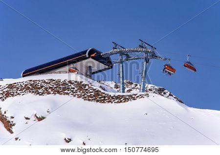 Chairlift top station in Solden Alpine ski resort in Otztal Alps in Austria