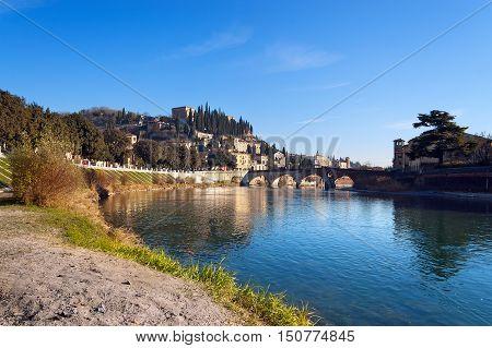 Adige river and hill of the city of Verona in winter (UNESCO world heritage site) - Veneto Italy