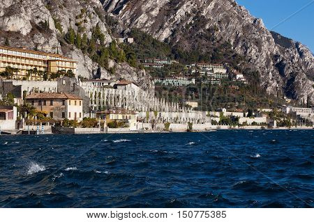 Limone sul Garda small town on Garda Lake (Lago di Garda) with ancient orchards. Brescia lombardia Italy Europe