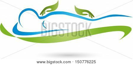 Human and two hands, massage and naturopathic logo