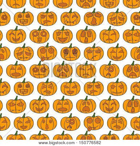 Vector Cartoon Hand Drawn Halloween Pumpkin Background
