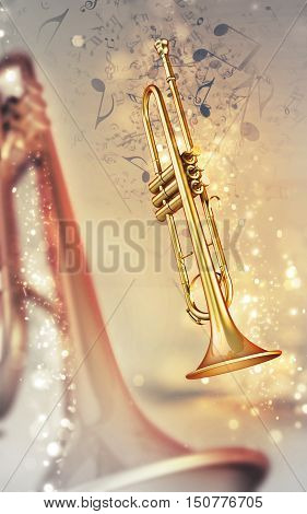 3d trumpet on shine music notes background