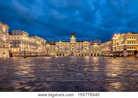 The Piazza  Dell Unita D Italia in Trieste Italy