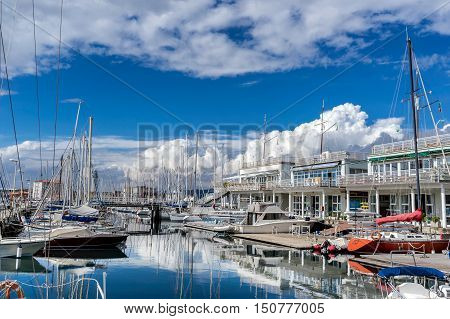 The yacht marina on the promenade in Trieste Italy