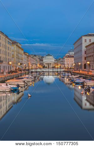 The Grand Canal looking towards the Church of San Antonioin Trieste Italy