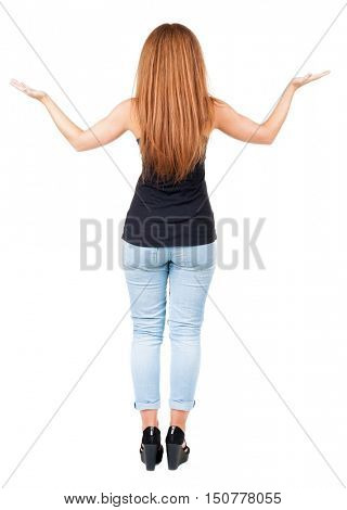 back view redhead young woman with hands up. Girl is bent elbows. Rear view people collection.  backside view of person.  Isolated over white background.
