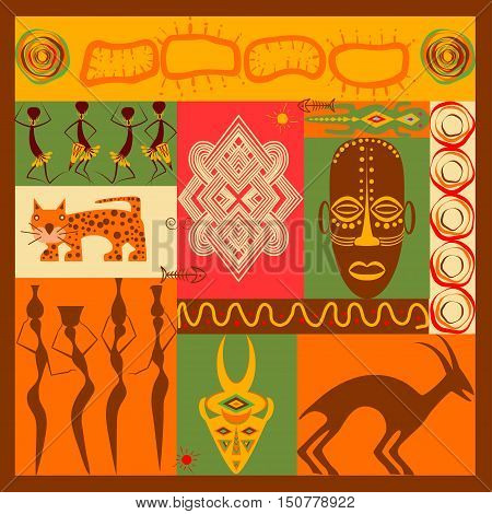 Conceptual ethnic illustration with different african animals, ornament, mask and people made in flat design style Travel to africa banner template Explore the world. Vector eps10
