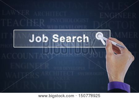 Concept of job search. Worker hand using a stylus pen to touch a job search button on the virtual screen