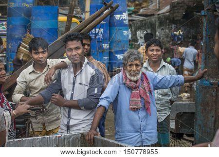 Chittagong Bangladesh February 25th 2016: men at the fishmarket