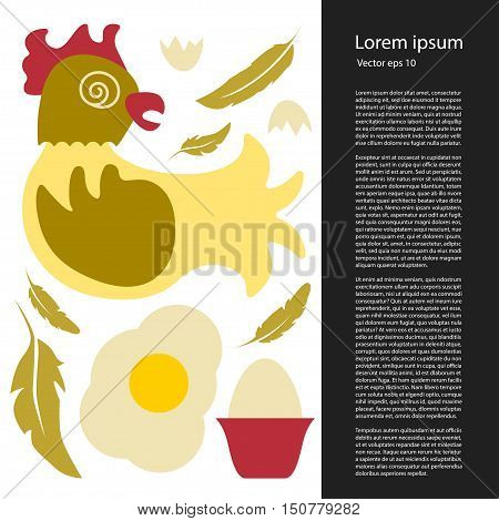 Vector Poultry farming flat icons and symbols made in vector, including egg, feather, shell, omelet. Hen products. Chicken farm elements for banner, template.