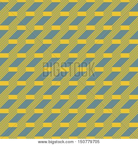 Abstract seamless pattern in yellow and blue retro colors. Stair step located rectangles and diagonal lines. Vector illustration for fabric, paper and other