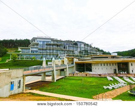 Egerszalok Hungary - September 27 2015: Saliris resort. The Egerszalok spa pools contain water rich in calcium magnesium and hydrocarbonate minerals.