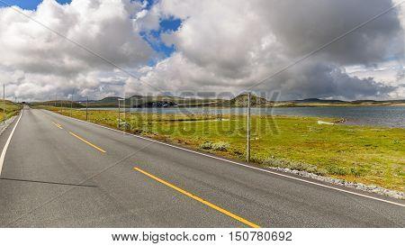 Road Across Hardangervidda Plateau In Hordaland, Norway