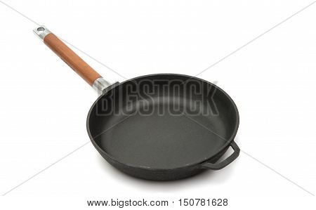 cast iron pan on a white background