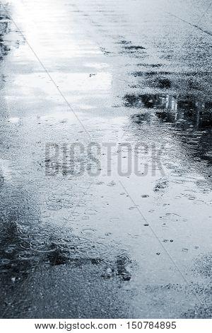 Wet Street Pavement During Rain In Autumn Season