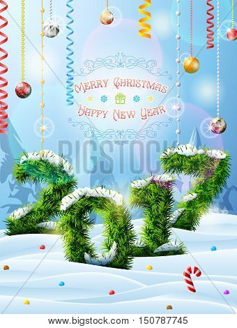New Year 2017 of christmas tree twigs in snow. Winter landscape with pine branches decoration congratulation. Vector image for new years day christmas winter holiday new years eve silvester etc