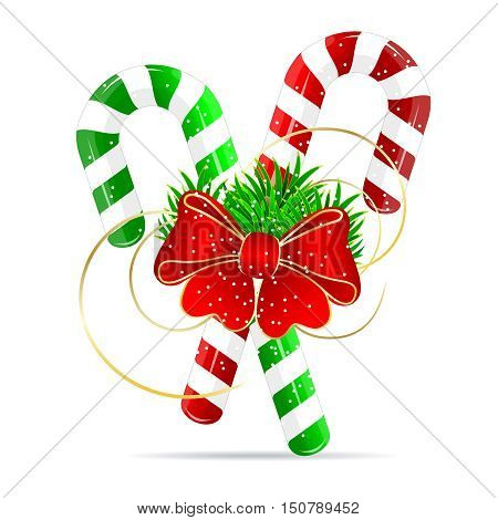 Christmas candy and a red bow-knot on a white background.