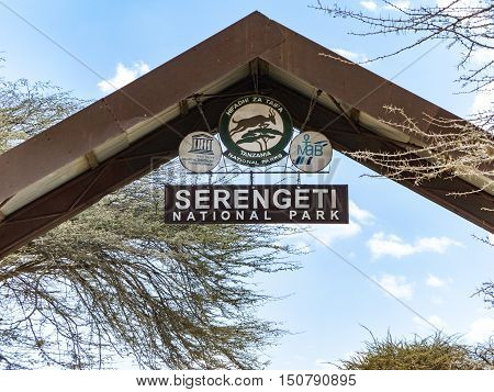 Entrance Of Serengeti National Park In Tanzania