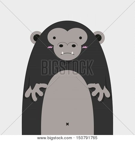 cute big fat gorilla on light gray background