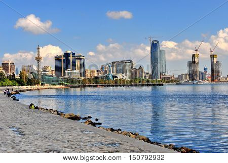 BAKU AZERBAIJAN - SEPTEMBER 25: View of seaside of Baku downtown of Baku on September 25 2016. Baku is a capital and largest city of Azerbaijan.