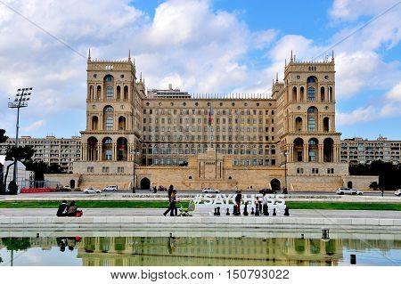 BAKU AZERBAIJAN - SEPTEMBER 25: Facade of the Government house of Baku on September 25 2016. Baku is a capital and largest city of Azerbaijan.