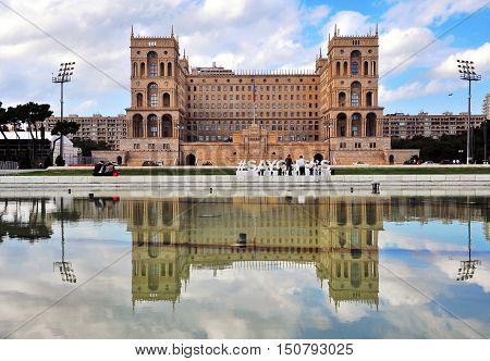 BAKU AZERBAIJAN - SEPTEMBER 25: Facade of the Government house of Baku on September 25 2016. Baku is a capital and largest city of Azerbaijan.