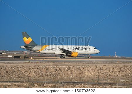 TENERIFE SPAIN - JULY 21: Airbus A320 from Thomas cook Condor airline is ready to take off from Tenerife airport on July 21 2016 in tenerife south Spain.