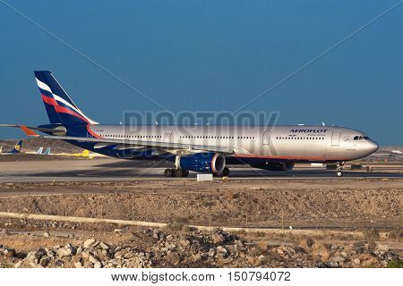 TENERIFE SPAIN - JULY 21: Russian airliner Aeroflot Airbus A330 ready for take off from Tenerife Airport on July 21 2016 in Tenerife south Spain.