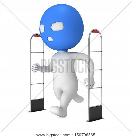 3D shoplifter scanner and running thief man in mask isolated on white background. Scanner entrance gate for prevent theft in shop or store. Security concept. poster