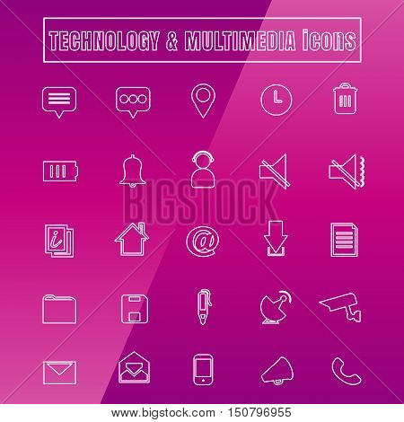 vector icons MULTIMEDIA Thin Line white on background
