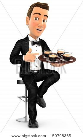 3d waiter sitting on bar chair with cups of coffee illustration with isolated white background