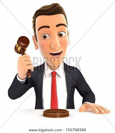 3d businessman hitting gavel illustration with isolated white background