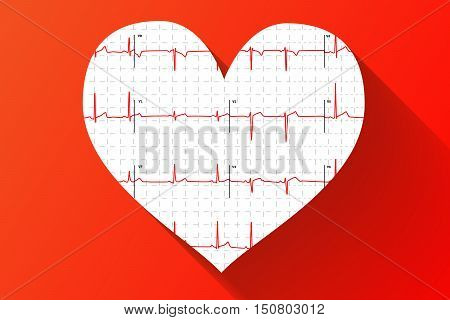 Typical human electrocardiogram in heart shape with long shadow on red background