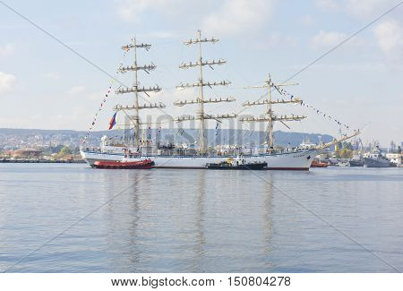 VARNA BULGARIA - OCTOBER 1 2016: opening of Black Sea Tall Ships Regatta Russian ship