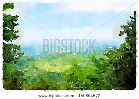 Digital watercolor painting of the picturesque British countryside with green trees hills and blue sky. With space for text.