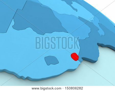 Swaziland In Red On Blue Globe