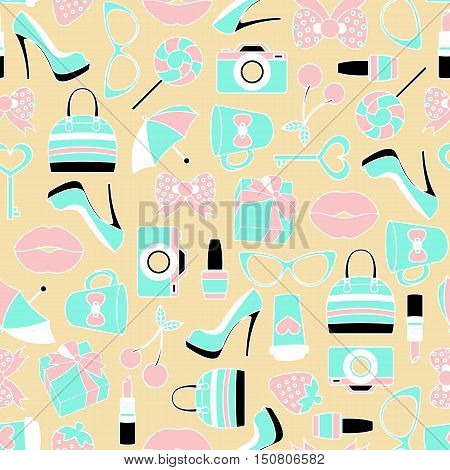 Vector pattern of glamor stickers and labeles