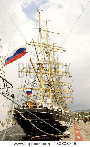 VARNA BULGARIA - OCTOBER 4 2016: Black Sea Tall Ships Regatta sailing ships from different countries on international regatta sailing ship