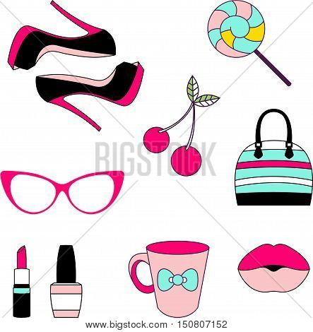 Vector isolated icons of glamor stickers and labeles