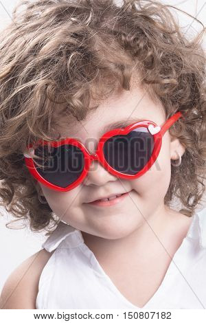 Isolated Child With Sun Glasses