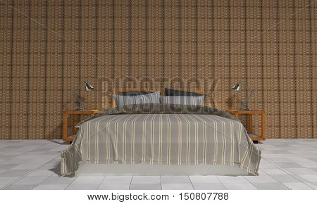 Modern bedroom with loft style.interior 3D rendering image