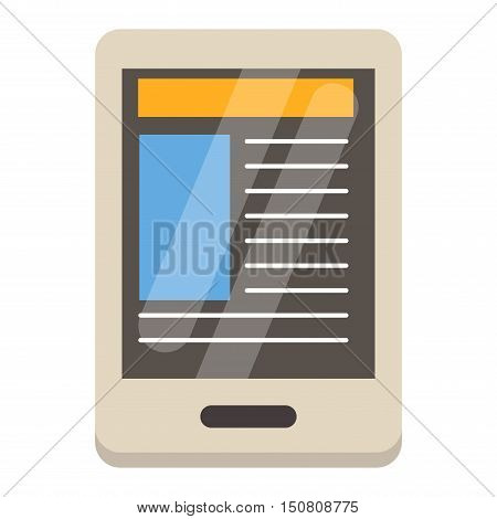 Mobile reading eBook and literature library concept: book with text in tablet computer. EBook touchscreen smartphone isolated on white background. Education internet library tablet eBook vector.