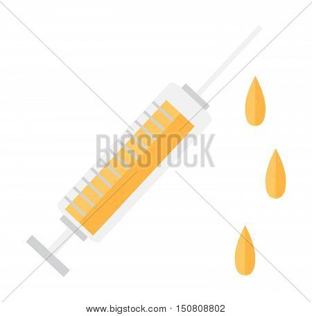Syringe vector icon cure clinic illustration tool. Medicine needle drug vaccination syringe clinical immunization science sign. Syringe health injection pharmacy care vector equipment.
