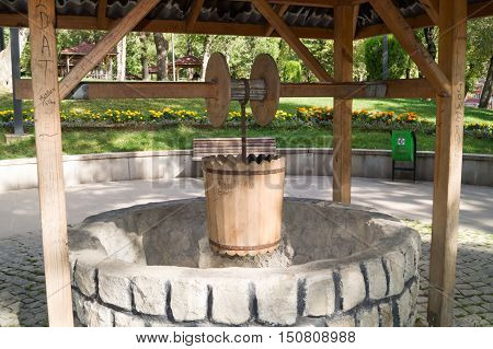 well built and surrounded with stone arrangement.