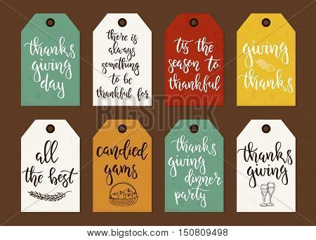 Thanksgiving day vintage gift tags and cards with calligraphy. Handwritten lettering. Hand drawn design elements. Printable items