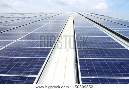 Large Scale Rooftop Solar PV Power Plant Sky View