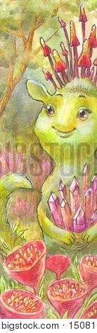 Fairy magic watercolor illustration. Green being the owner of the forest a dwarf an alien with jewels a mysterious forest children's illustration painting. Suitable for children's products a poster for a child's room bookmarks cover background card drawin