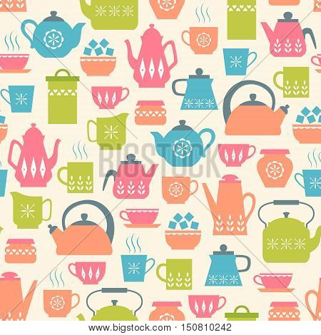 Seamless retro-style pattern with cute tea things.