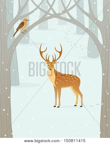 Scene with deer in winter snow forest.